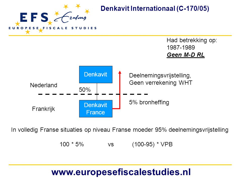 www.europesefiscalestudies.nl Denkavit Internationaal (C-170/05)