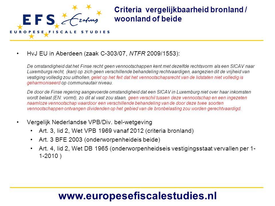 Criteria vergelijkbaarheid bronland / woonland of beide