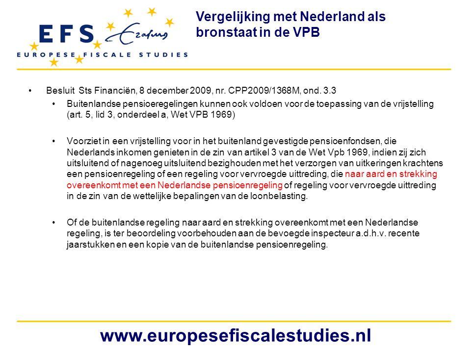 Vergelijking met Nederland als bronstaat in de VPB