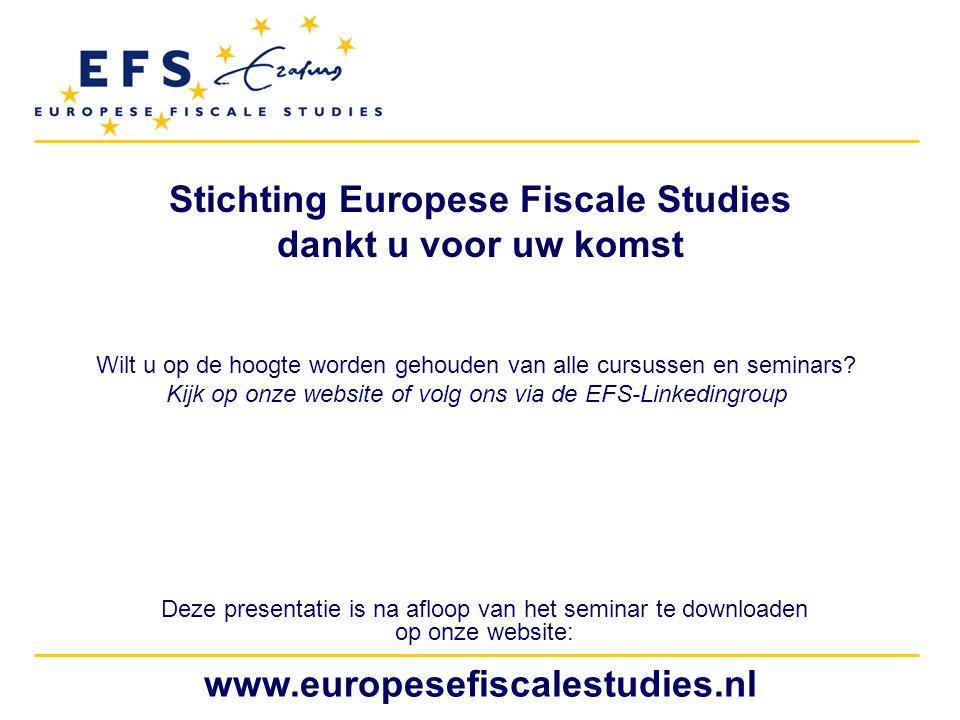 Stichting Europese Fiscale Studies dankt u voor uw komst