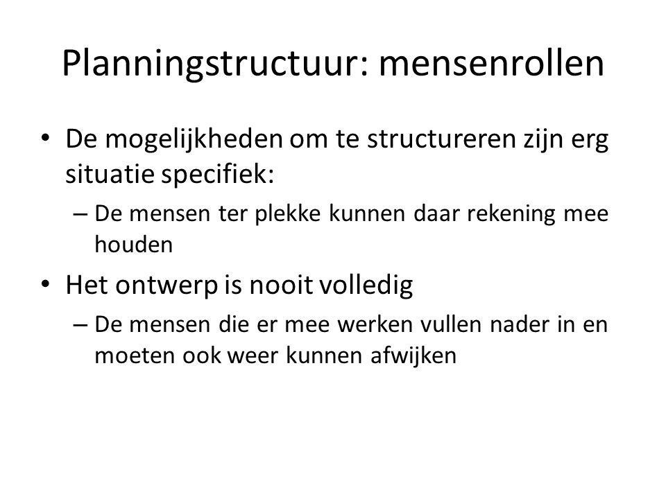 Planningstructuur: mensenrollen