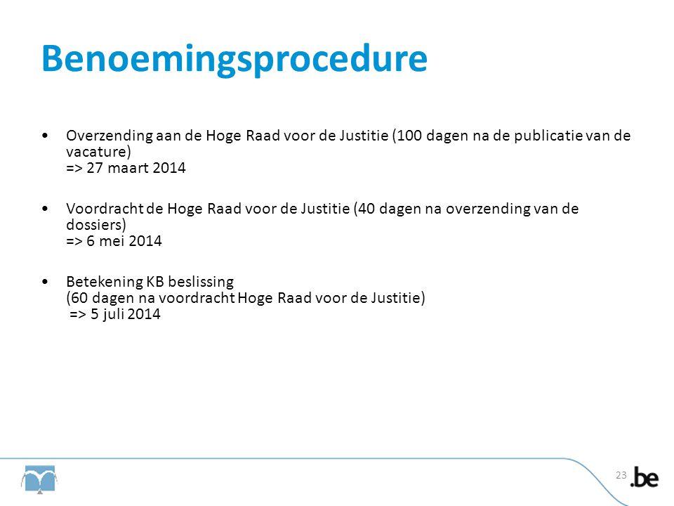 Benoemingsprocedure Overzending aan de Hoge Raad voor de Justitie (100 dagen na de publicatie van de vacature) => 27 maart 2014.
