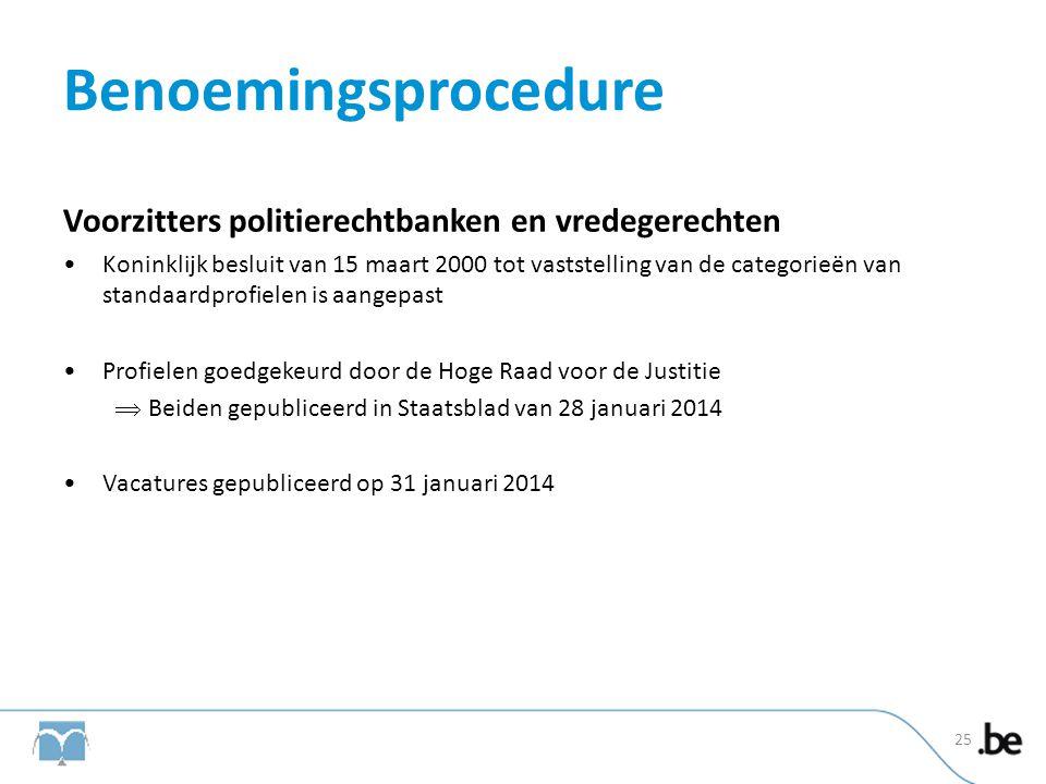 Benoemingsprocedure Voorzitters politierechtbanken en vredegerechten