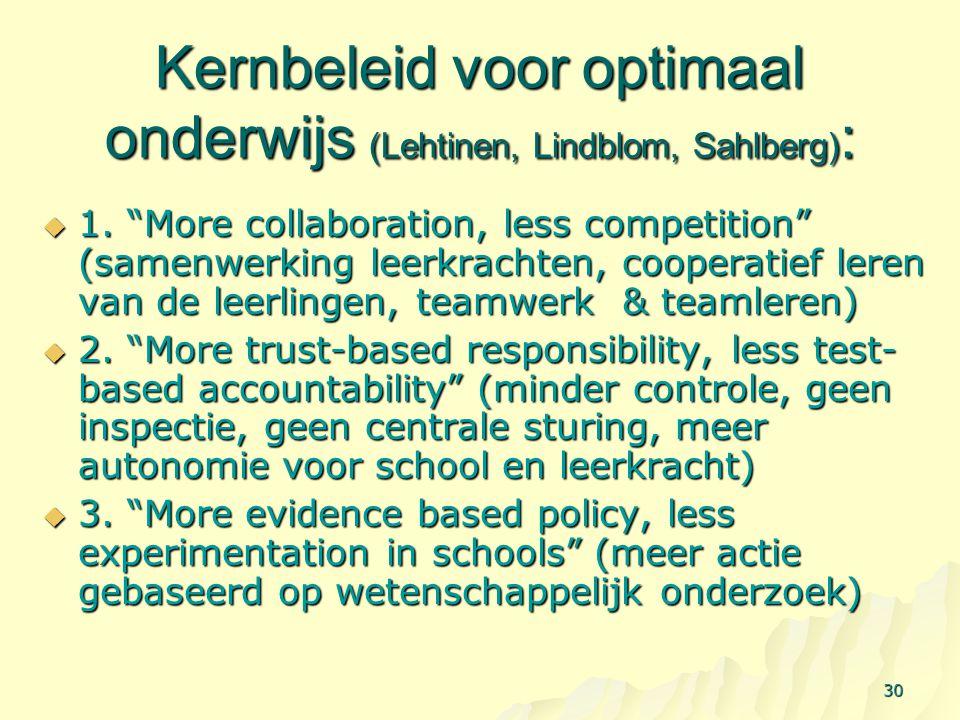 Kernbeleid voor optimaal onderwijs (Lehtinen, Lindblom, Sahlberg):