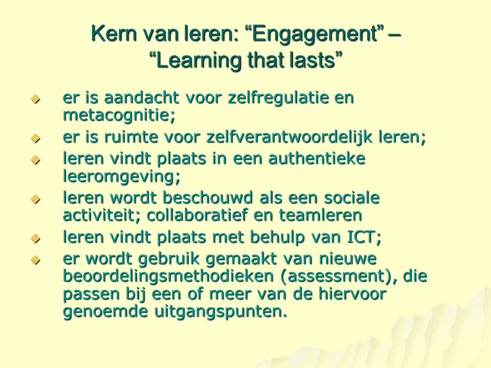 Kern van leren: Engagement – Learning that lasts