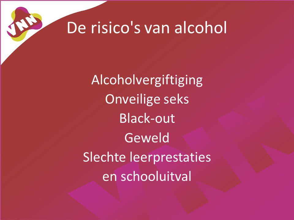 De risico s van alcohol Alcoholvergiftiging Onveilige seks Black-out Geweld Slechte leerprestaties en schooluitval