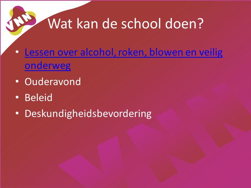 Wat kan de school doen Lessen over alcohol, roken, blowen en veilig onderweg. Ouderavond. Beleid.