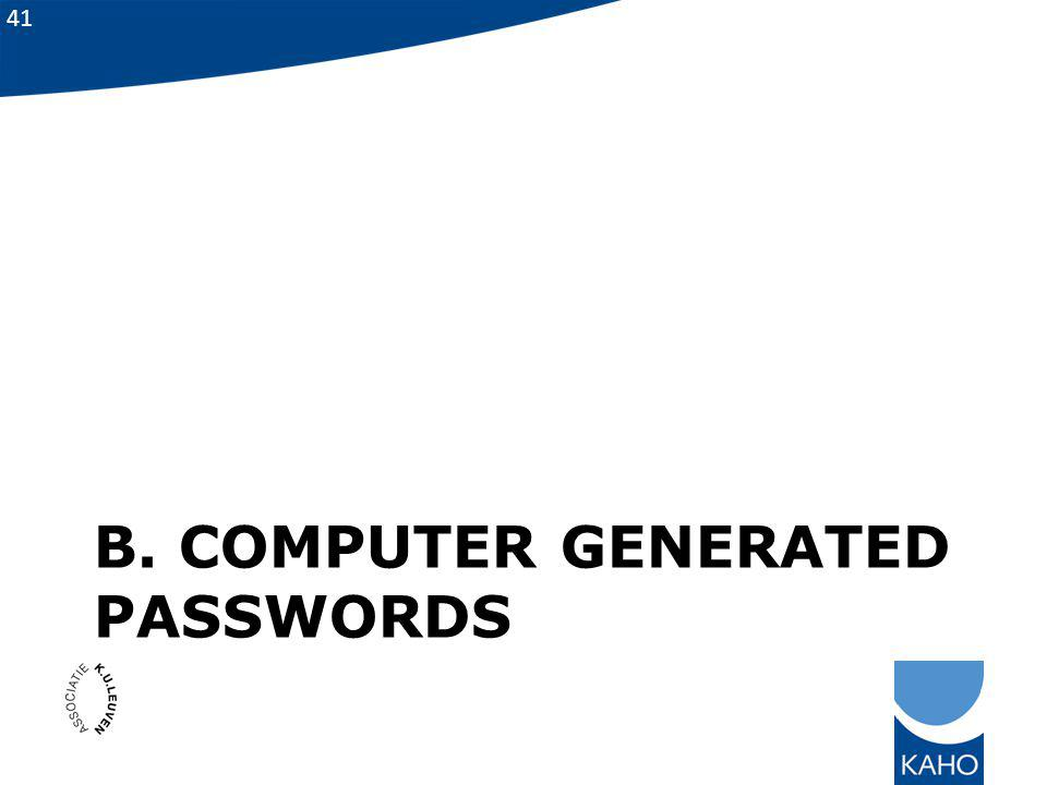 B. Computer generated passwords