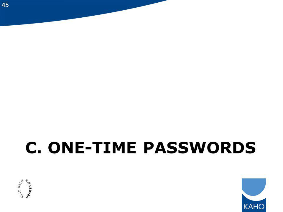 C. One-time passwords