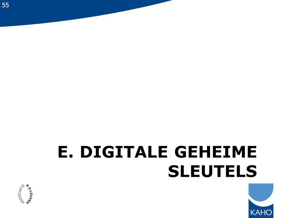 E. Digitale geheime sleutels