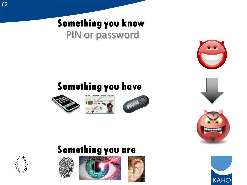 Something you know Something you have Something you are PIN or password