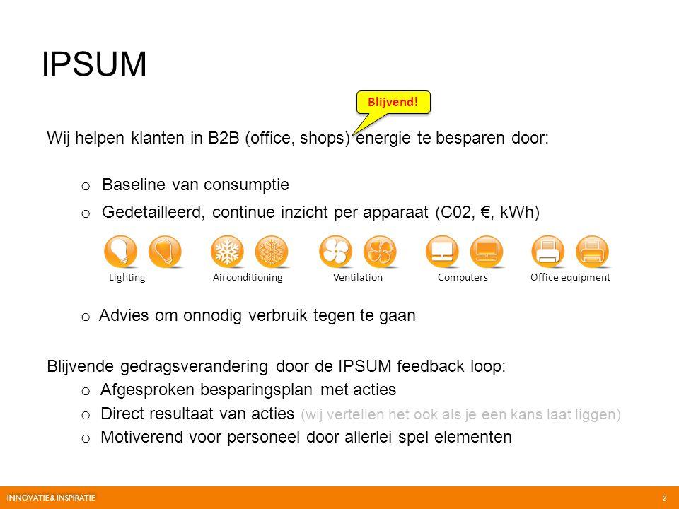 IPSUM Blijvend! Wij helpen klanten in B2B (office, shops) energie te besparen door: Baseline van consumptie.