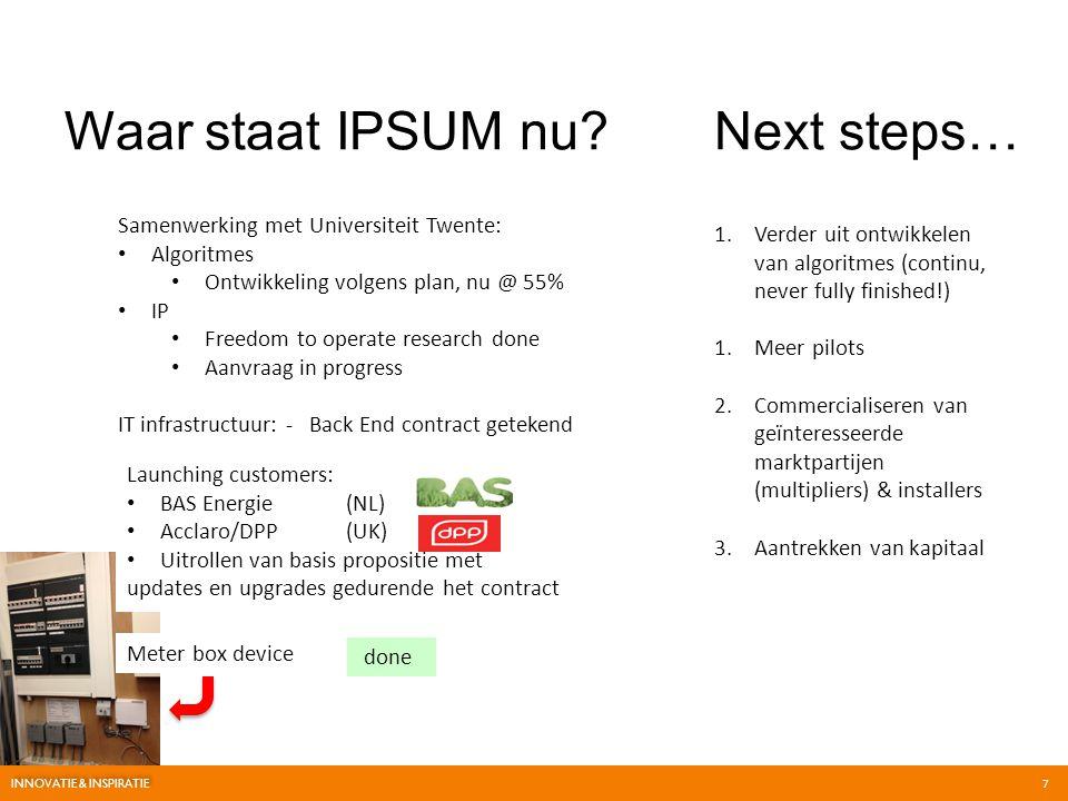 Waar staat IPSUM nu Next steps… Samenwerking met Universiteit Twente: