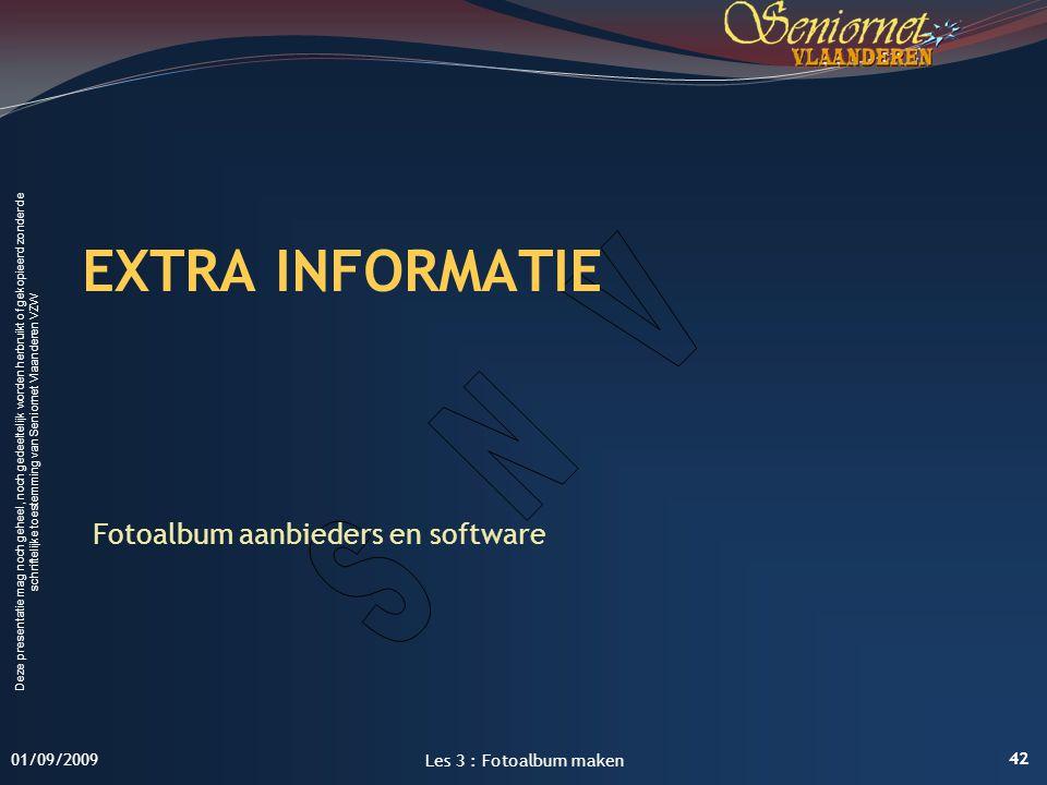 EXTRA INFORMATIE Fotoalbum aanbieders en software