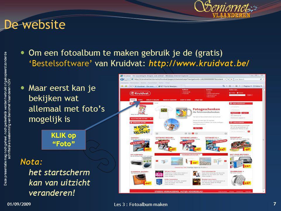 LES 3: FotoAlbum maken 1/09/2009. De website.