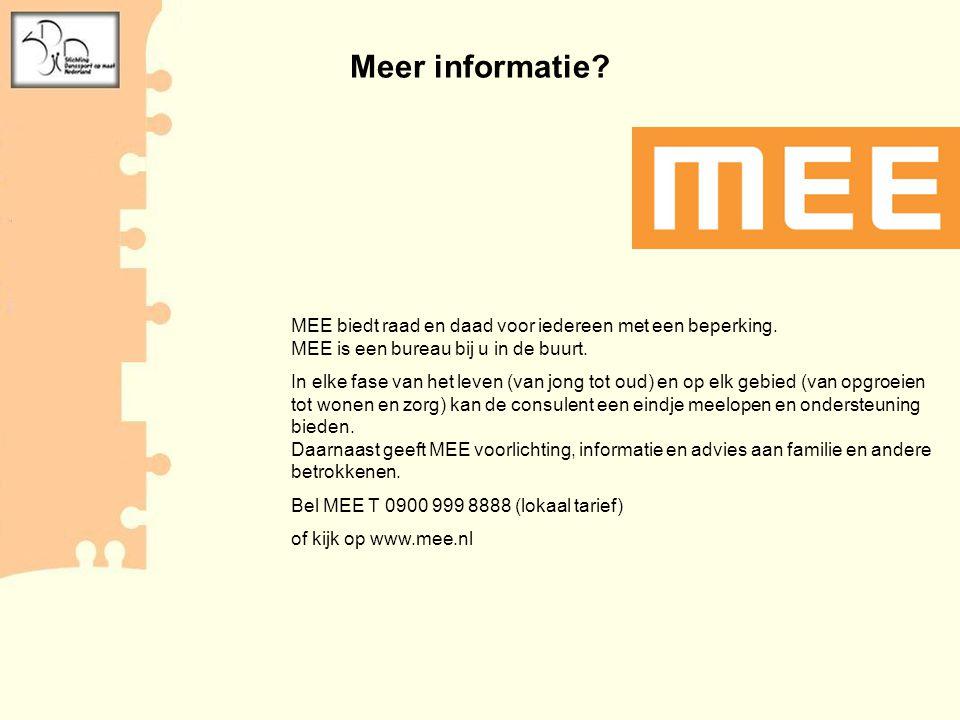 Meer informatie MEE biedt raad en daad voor iedereen met een beperking. MEE is een bureau bij u in de buurt.