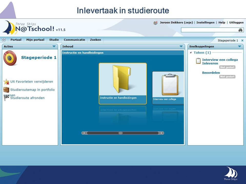 Inlevertaak in studieroute
