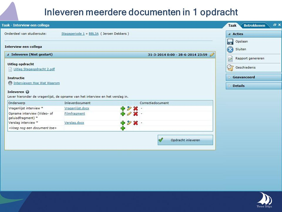 Inleveren meerdere documenten in 1 opdracht