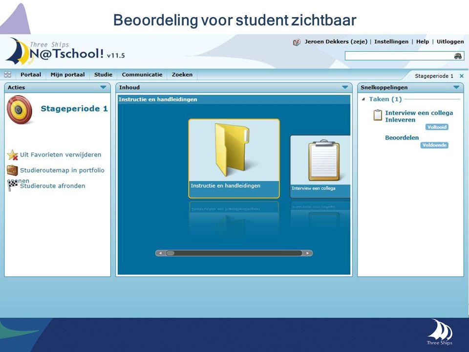 Beoordeling voor student zichtbaar