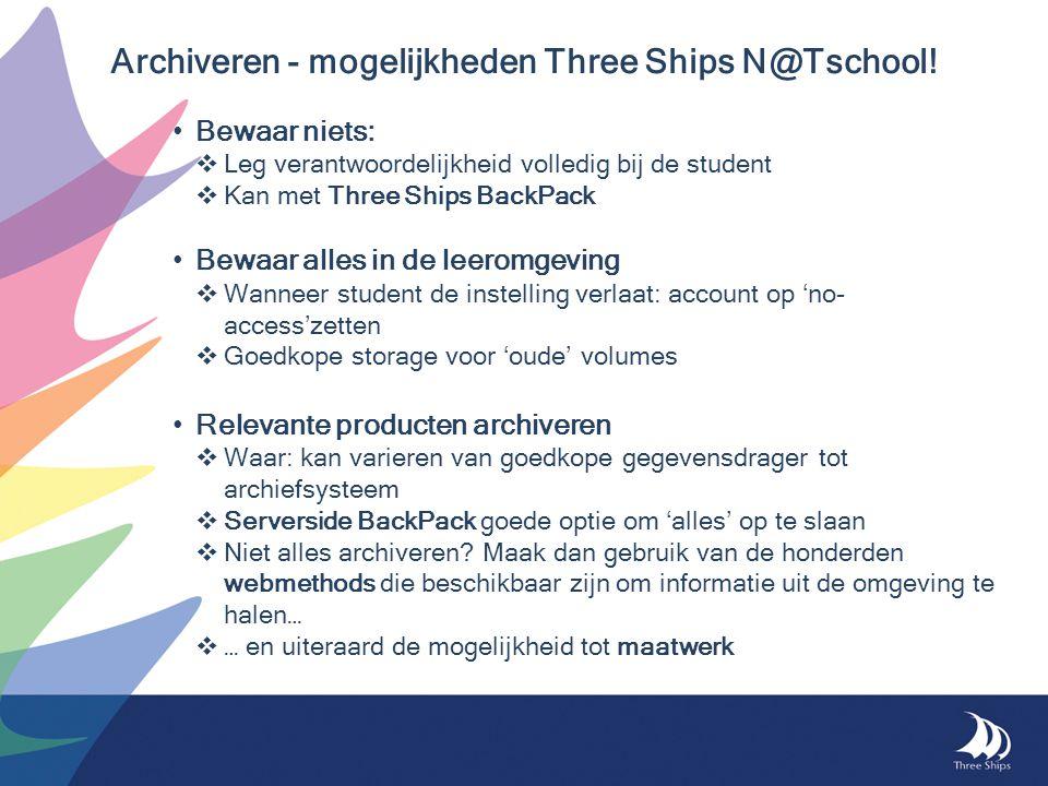 Archiveren - mogelijkheden Three Ships N@Tschool!