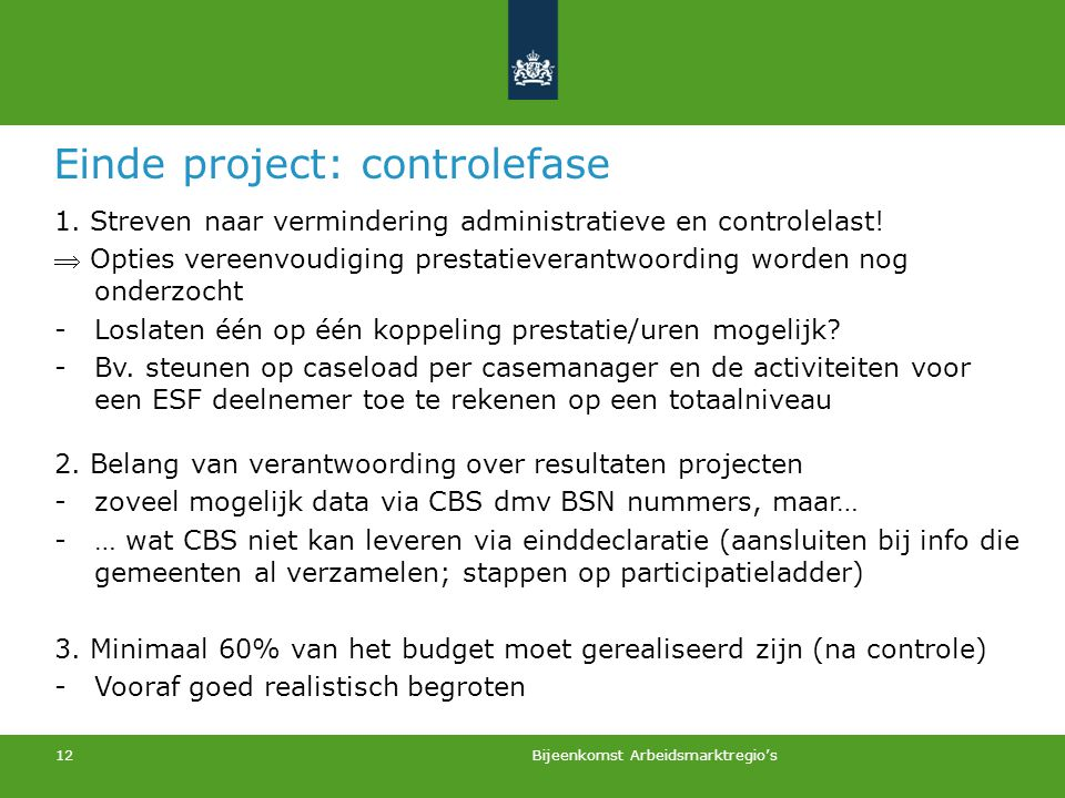 Einde project: controlefase