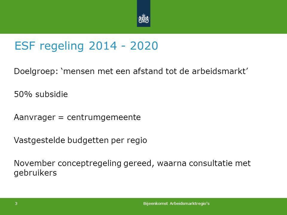 ESF regeling 2014 - 2020 Doelgroep: 'mensen met een afstand tot de arbeidsmarkt' 50% subsidie. Aanvrager = centrumgemeente.