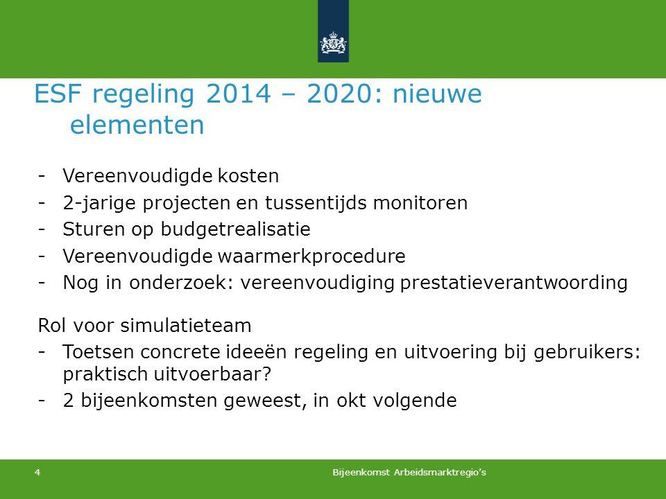 ESF regeling 2014 – 2020: nieuwe elementen