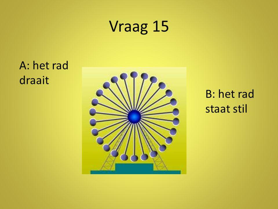 Vraag 15 A: het rad draait B: het rad staat stil Antwoord: b