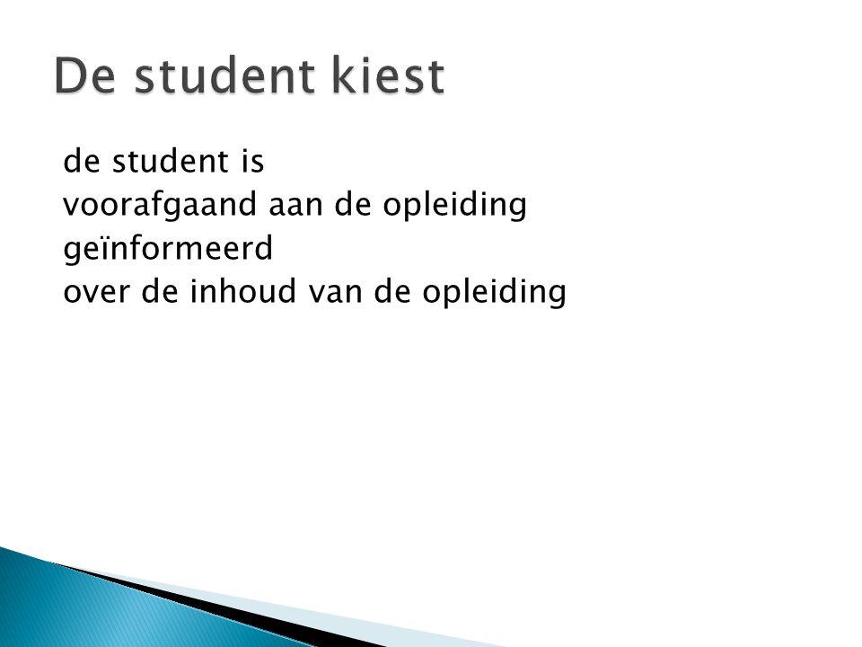 De student kiest de student is voorafgaand aan de opleiding geïnformeerd over de inhoud van de opleiding