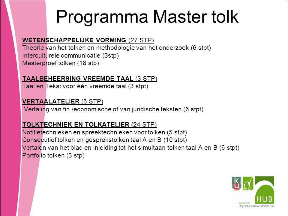 Programma Master tolk WETENSCHAPPELIJKE VORMING (27 STP)