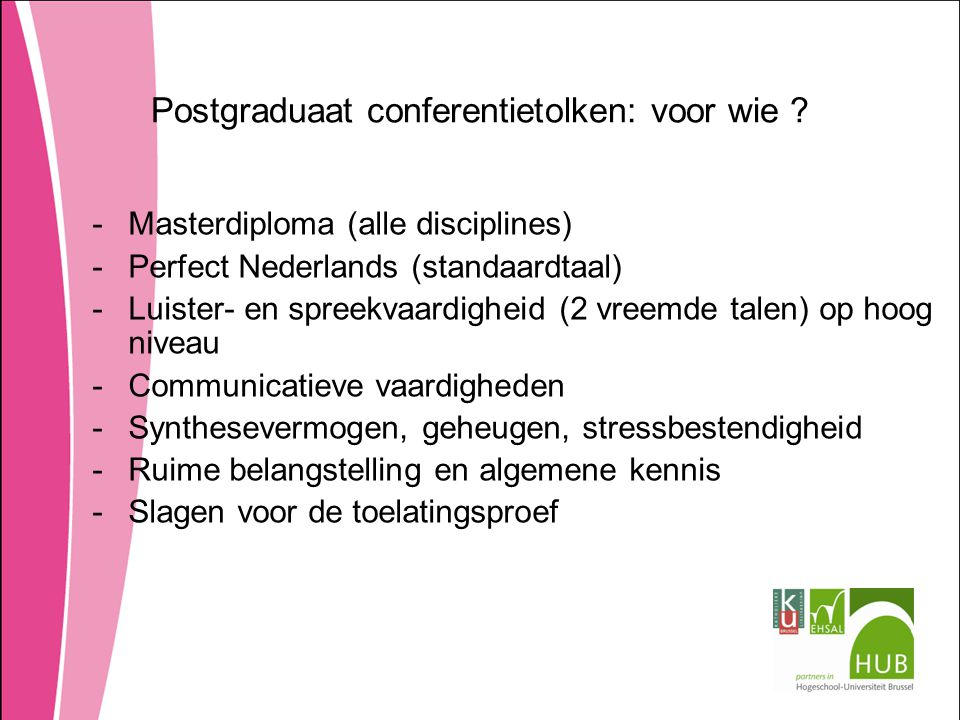 Postgraduaat conferentietolken: voor wie