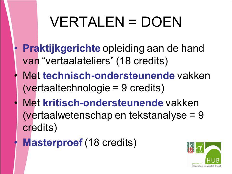VERTALEN = DOEN Praktijkgerichte opleiding aan de hand van vertaalateliers (18 credits)