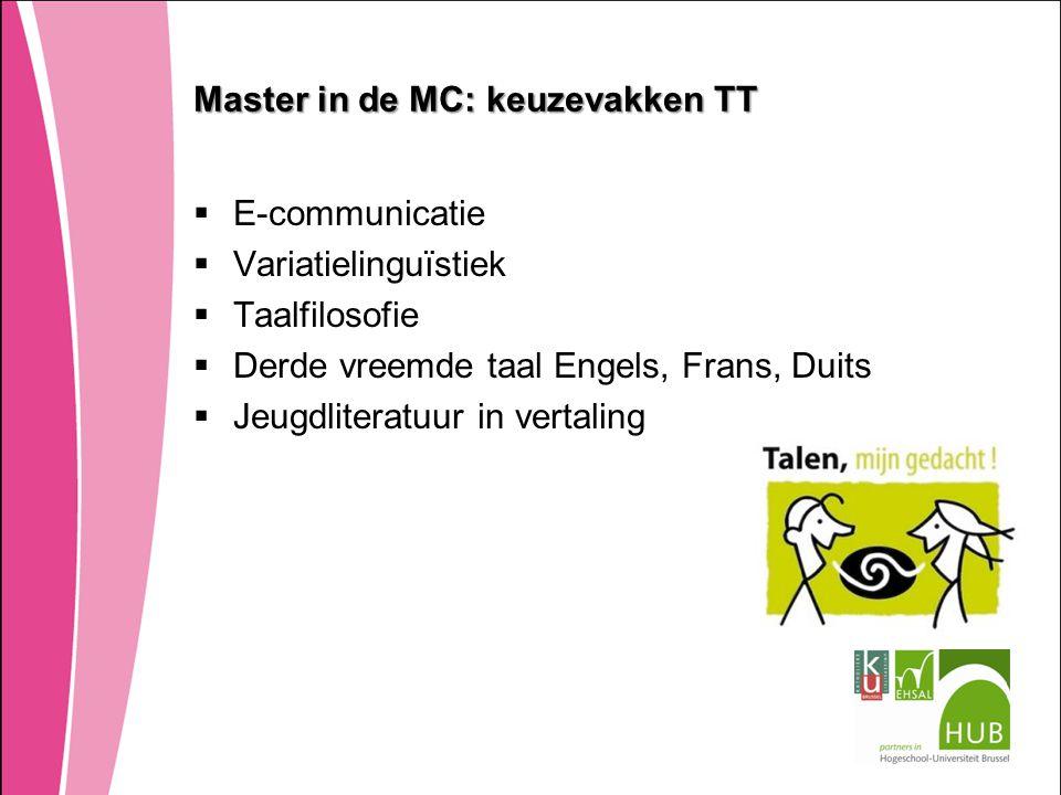 Master in de MC: keuzevakken TT