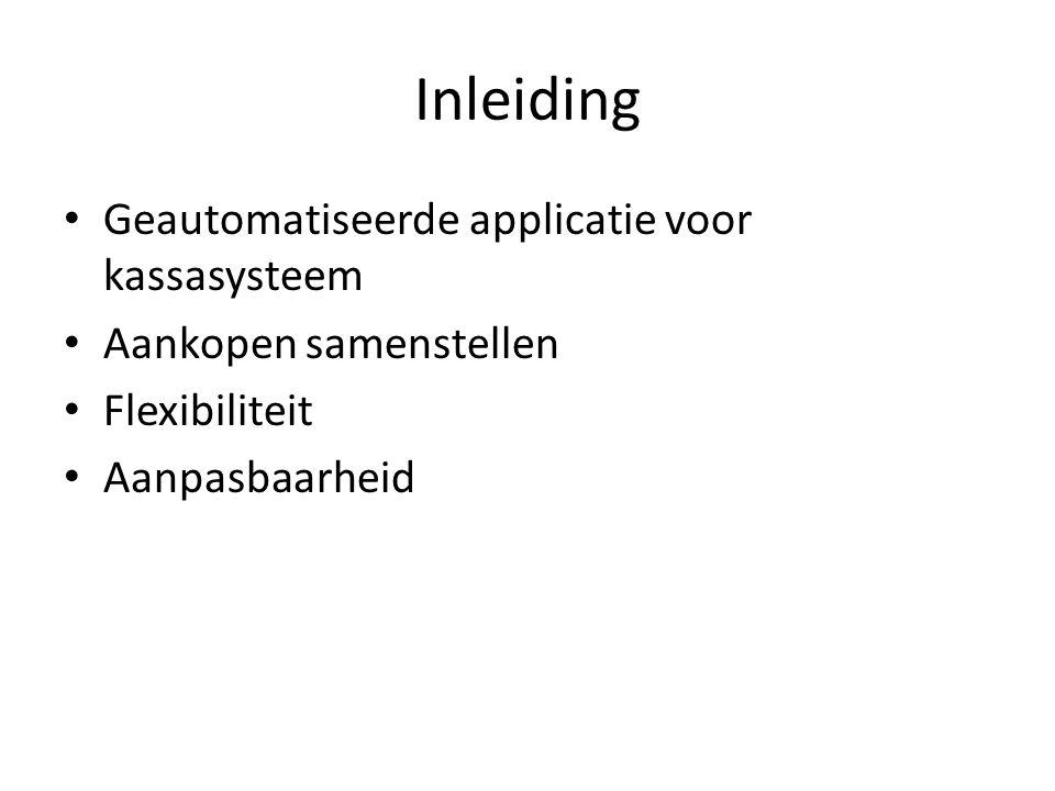 Inleiding Geautomatiseerde applicatie voor kassasysteem