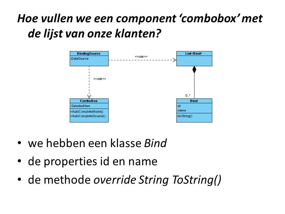 Hoe vullen we een component 'combobox' met de lijst van onze klanten