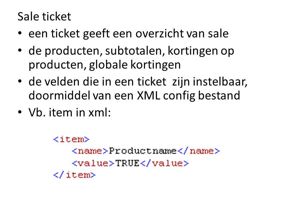 Sale ticket een ticket geeft een overzicht van sale. de producten, subtotalen, kortingen op producten, globale kortingen.