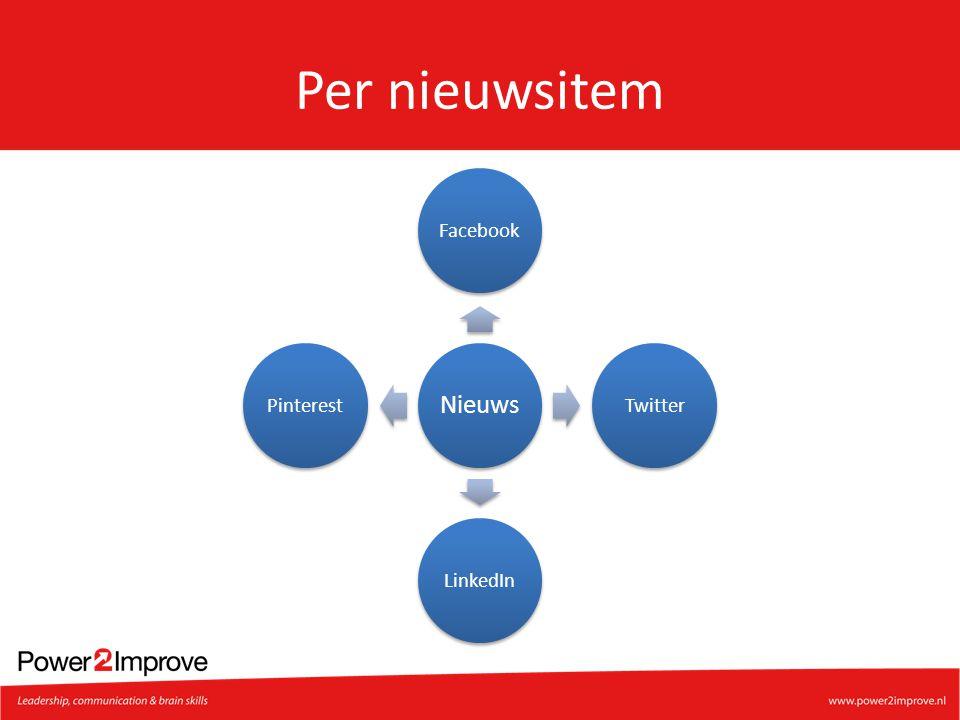 Per nieuwsitem Nieuws Facebook Twitter LinkedIn Pinterest