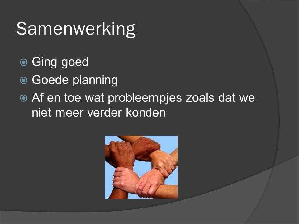 Samenwerking Ging goed Goede planning