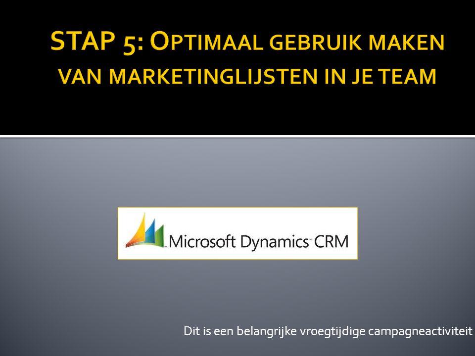 STAP 5: Optimaal gebruik maken van marketinglijsten in je team