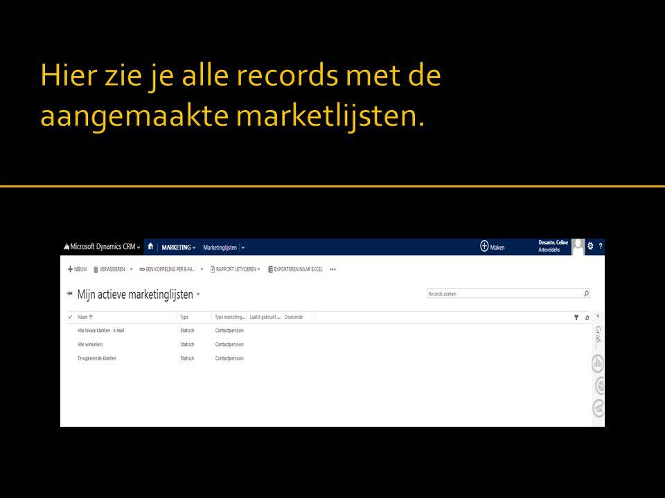 Hier zie je alle records met de aangemaakte marketlijsten.