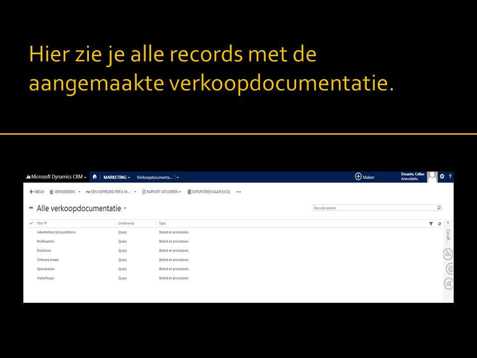 Hier zie je alle records met de aangemaakte verkoopdocumentatie.