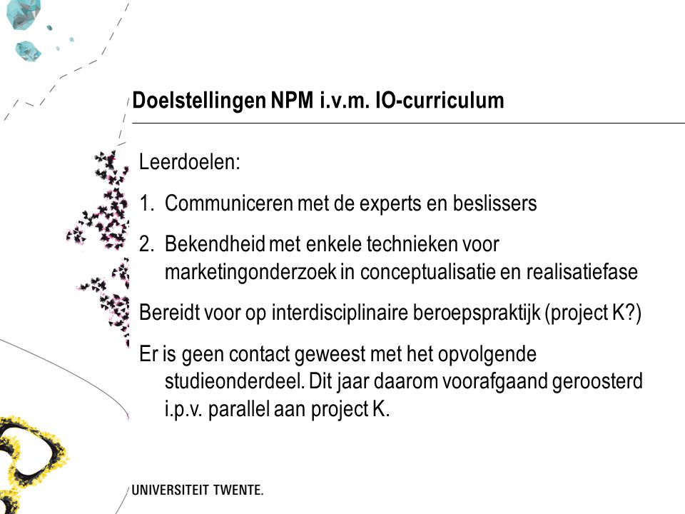 Doelstellingen NPM i.v.m. IO-curriculum