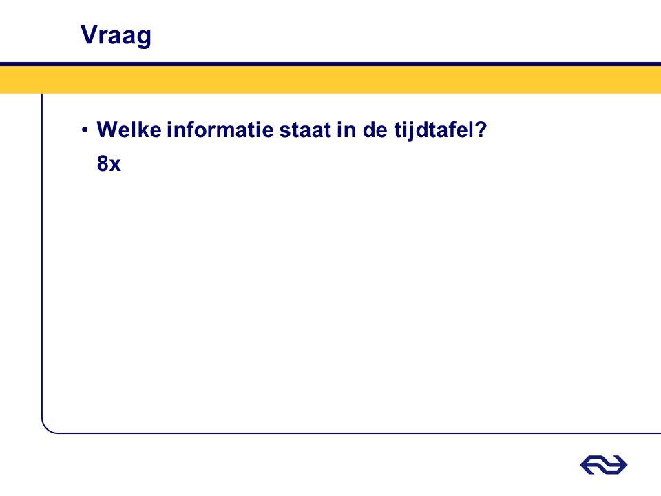 Vraag Welke informatie staat in de tijdtafel 8x