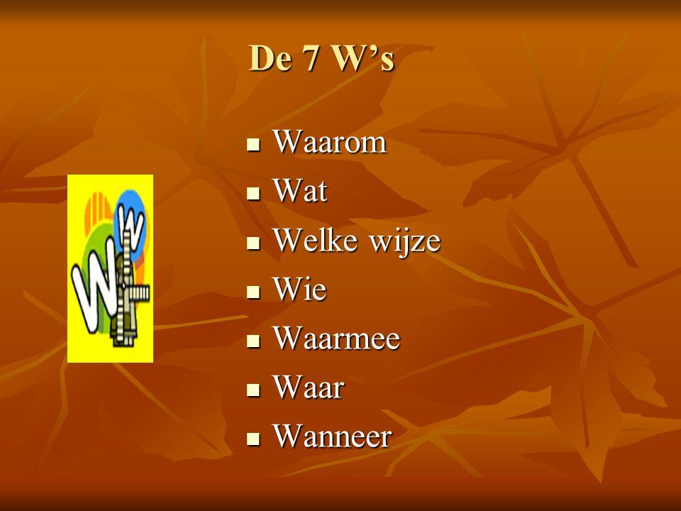 De 7 W's Waarom Wat Welke wijze Wie Waarmee Waar Wanneer
