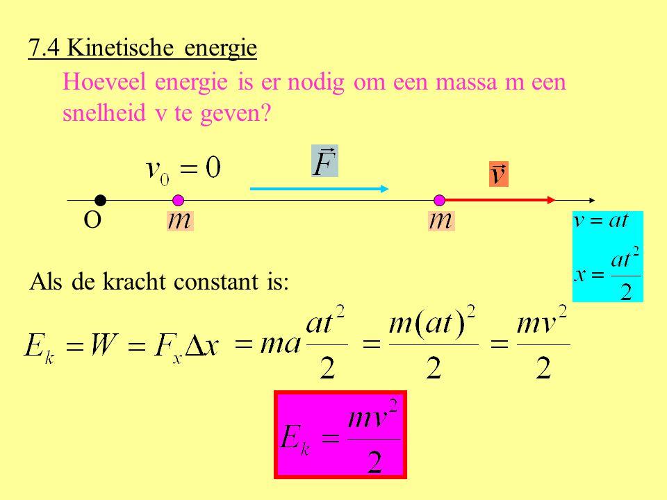 7.4 Kinetische energie Hoeveel energie is er nodig om een massa m een.