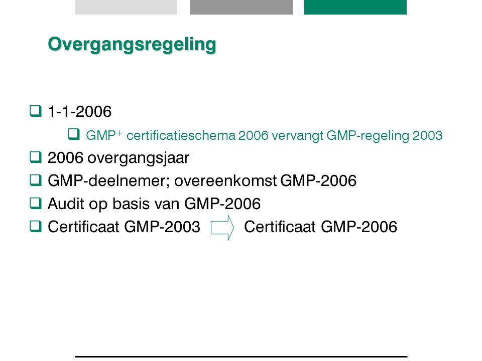 GMP+ certificatieschema 2006 vervangt GMP-regeling 2003