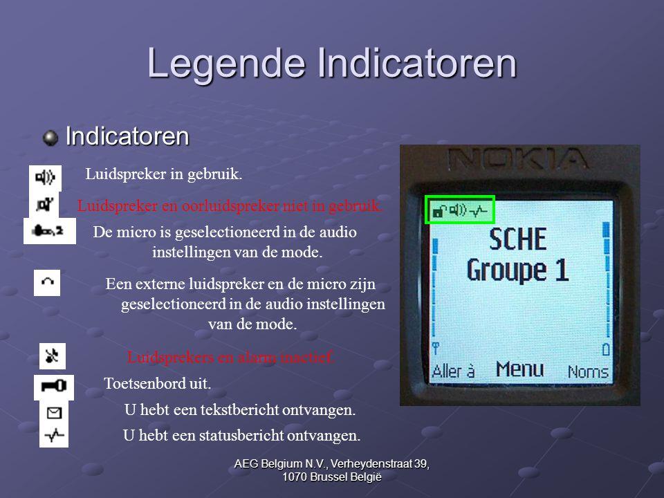 Legende Indicatoren Indicatoren Luidspreker in gebruik.