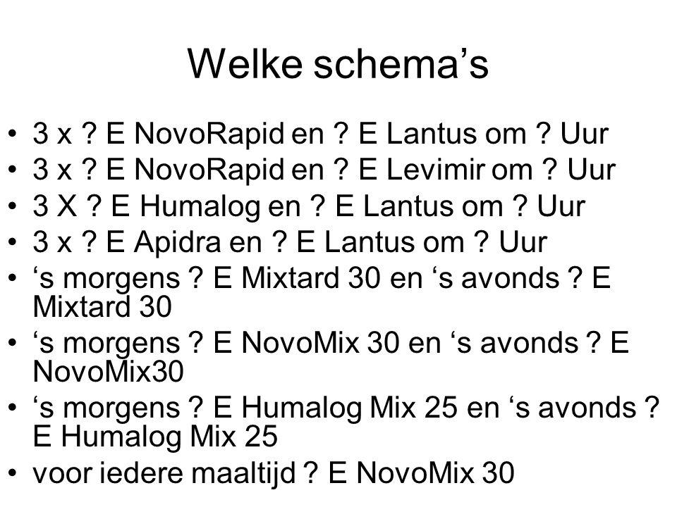 Welke schema's 3 x E NovoRapid en E Lantus om Uur