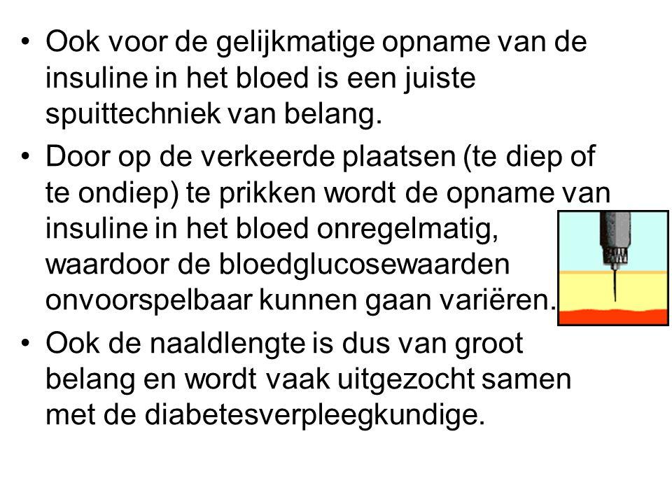 Ook voor de gelijkmatige opname van de insuline in het bloed is een juiste spuittechniek van belang.