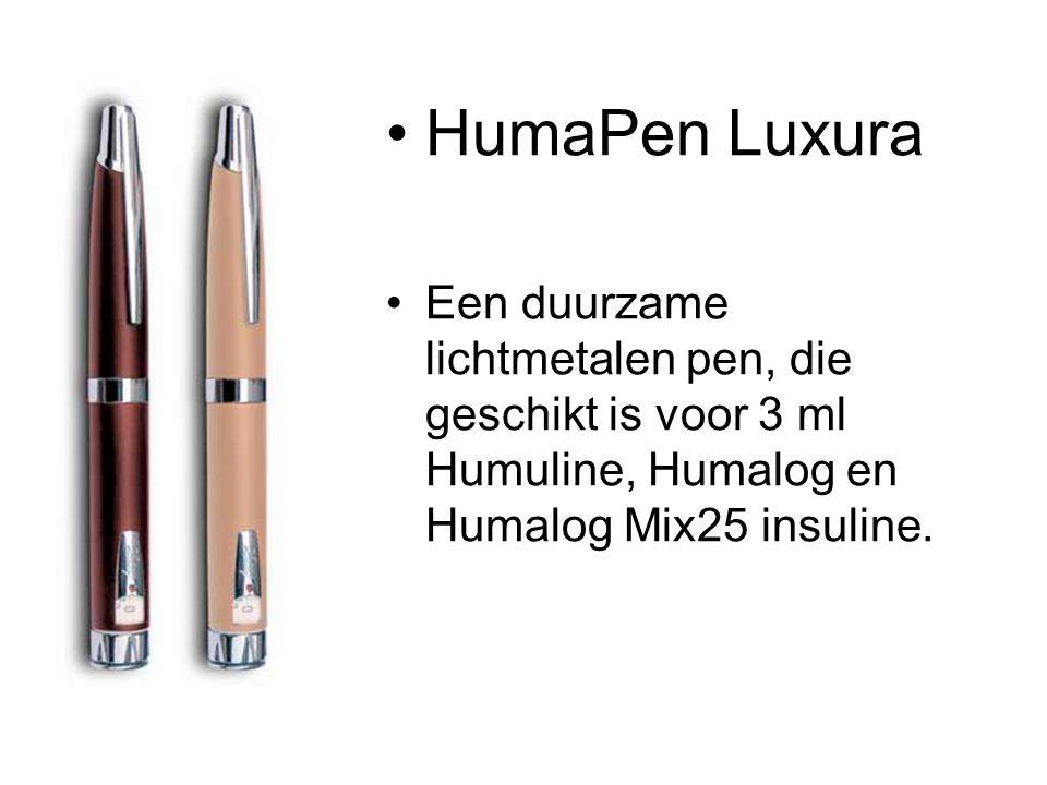 HumaPen Luxura Een duurzame lichtmetalen pen, die geschikt is voor 3 ml Humuline, Humalog en Humalog Mix25 insuline.